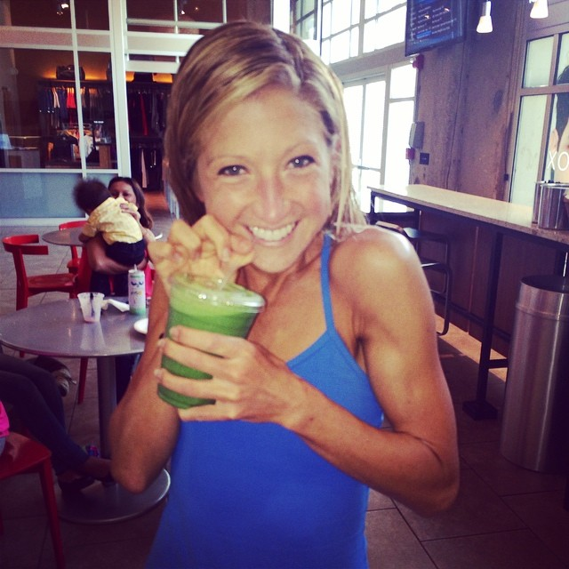 Getting my green smoothie fix post summer swim at Equinox!