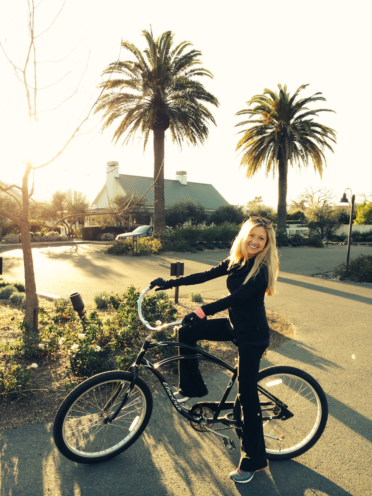Crusin around Calistoga in my Solage Resort bicycle