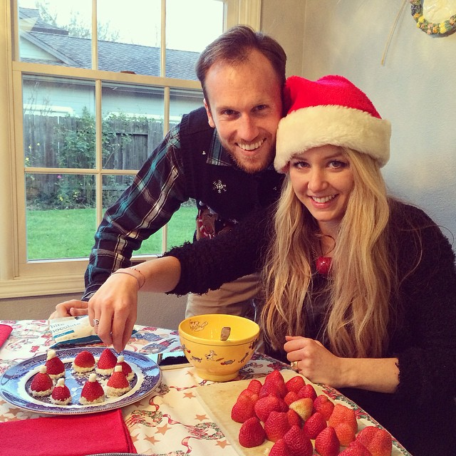 Family Bonding over Making Strawberry Santa Hat Treats for the holidays