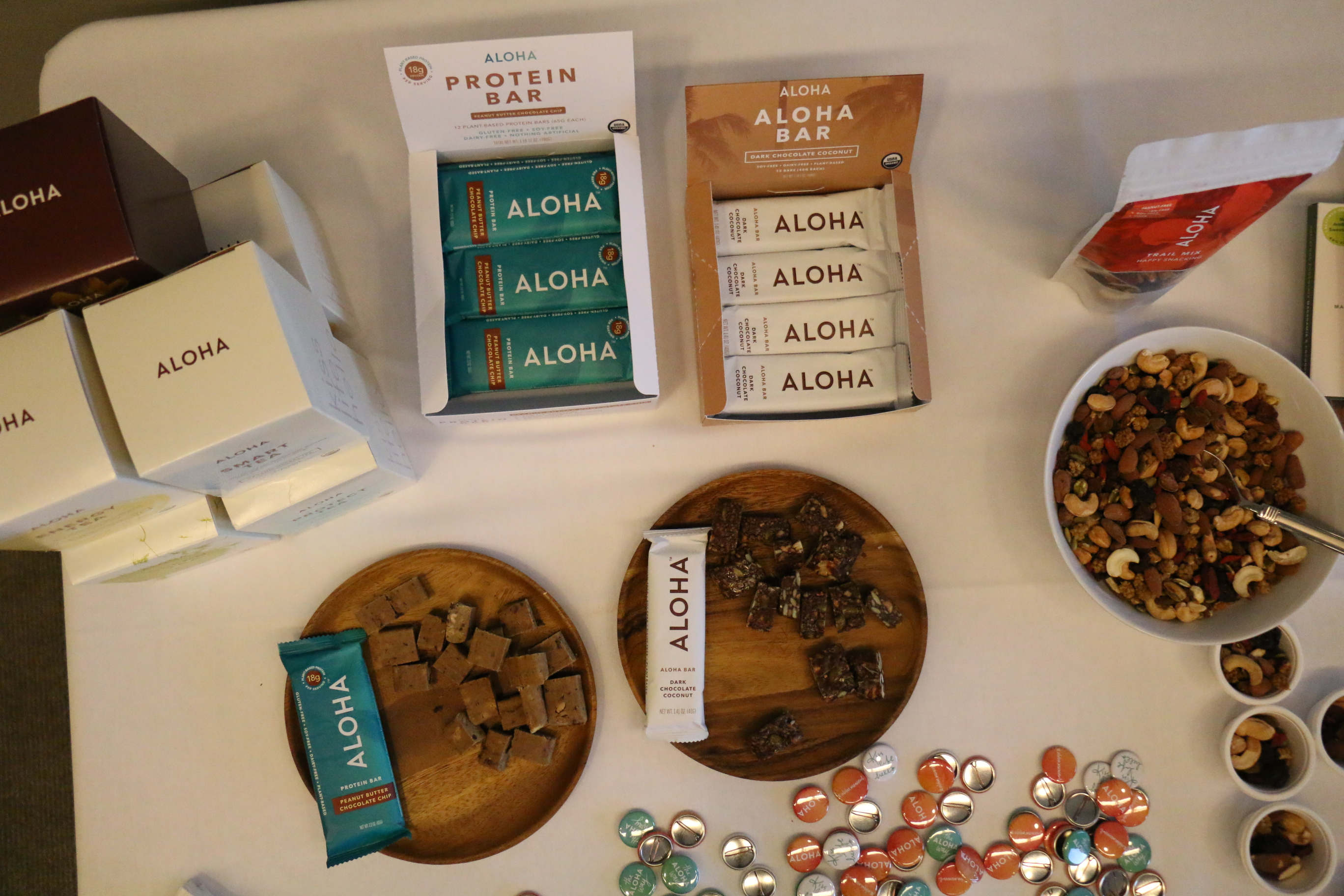 Enjoying Aloha protein bars as a healthy snack break during a recent Caroline Jordan Fitness corporate wellness workshop for Kirkland and Ellis